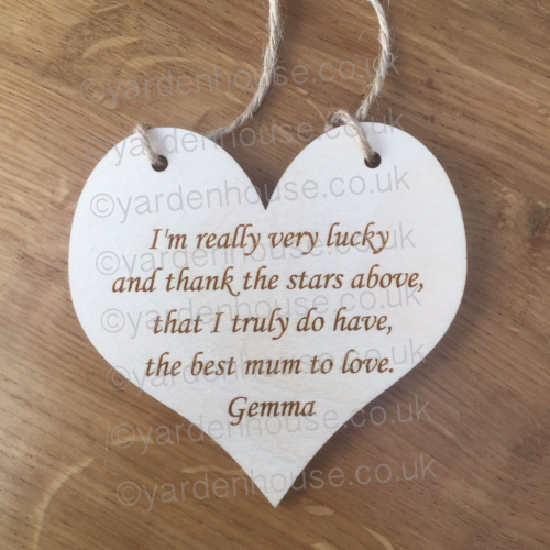 I'm really very lucky... 10cm Birch ply hanging heart **just £2 shipping*** PERSONALISED VERSION